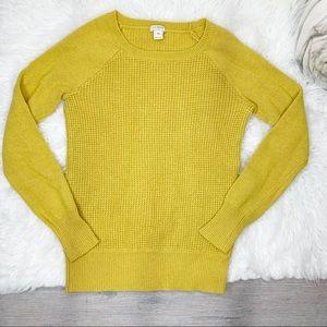 J. Crew Mustard Yellow Waffle Knit Sweater XS